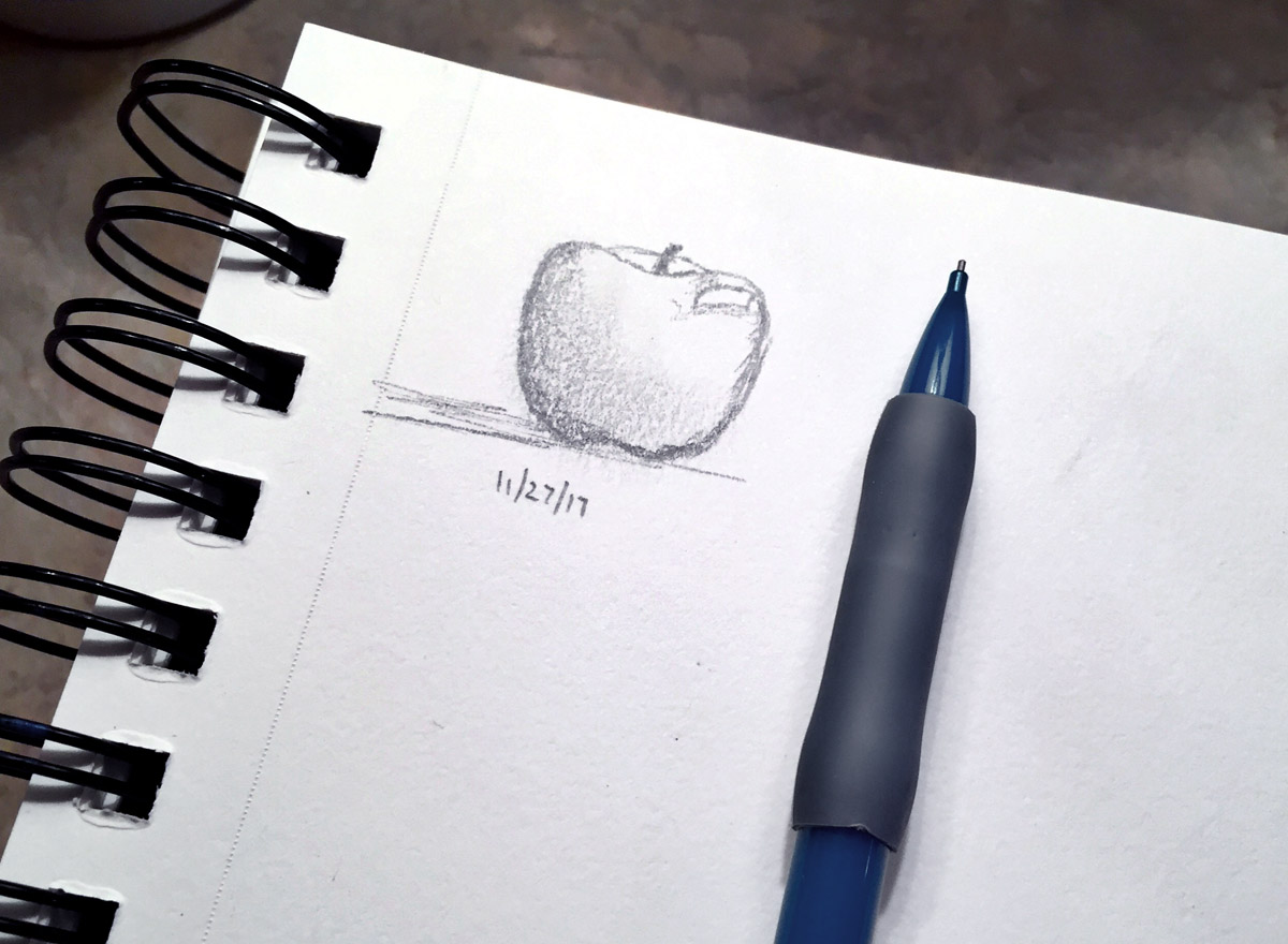 apple sketch, dianadellos.com