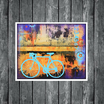 urban biking, cycling art, biking art, bike painting, www.dianadellos.com