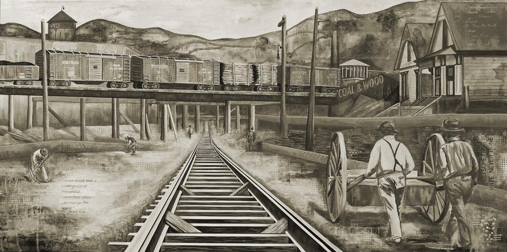 Railroad Yard, Sepia, dianadellos.com