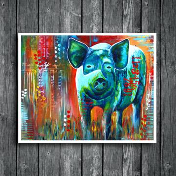 pig painting, hog wild, www.dianadellos.com