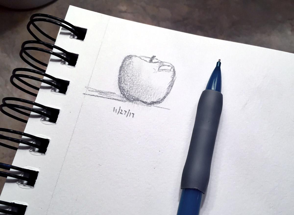 apple sketch, dianadellos.com