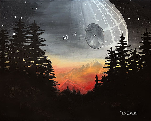 Star Wars landscape painting tutorial video, dianadellos.com